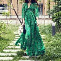 Vintacy Women Long Green Dress Summer V Neck Beach High Waist Floral Maxi Ruffles Boho Holiday Retro Plus Size 2XL Three Quarter