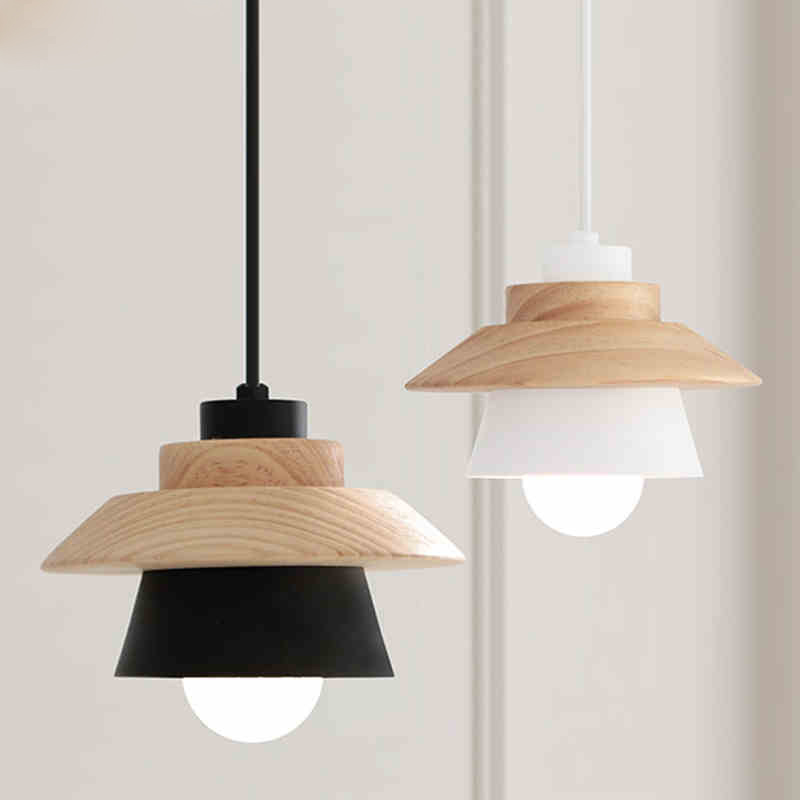 Nordic Contracted Decor Pendant Lights Suspension Luminaire, E27 Aluminum+Wood Pendant Lamp Modern Light Fixtures Black White