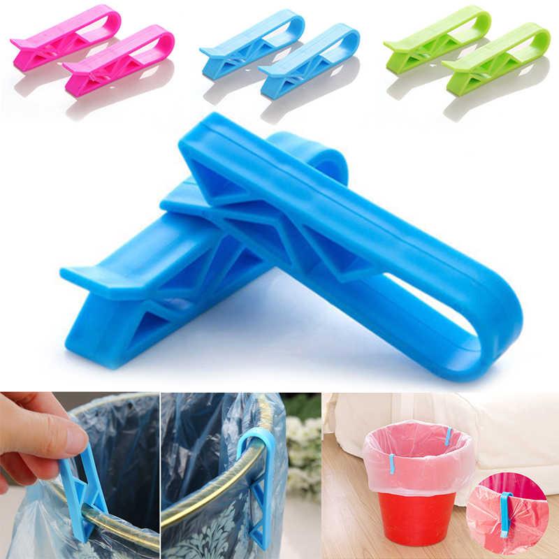 2 PCS Universal Saco de Lixo Clipe Fixo Clips De Plástico Lata de lixo Cesta de Lixo Lixo Lixo Lixo Pode Braçadeira Clips Saco cor aleatória