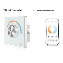 Knob WW CW CCT Wall-mounted Switch Touch Panels Led Controller 288W DC12V-24V Rotate Remote Dual White Strip RF2.4G