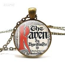 The Raven Literary Necklace Pendant, Edgar Allen Poe The Raven Necklace Literary Bronze Chain Glass Jewelry roman literary culture