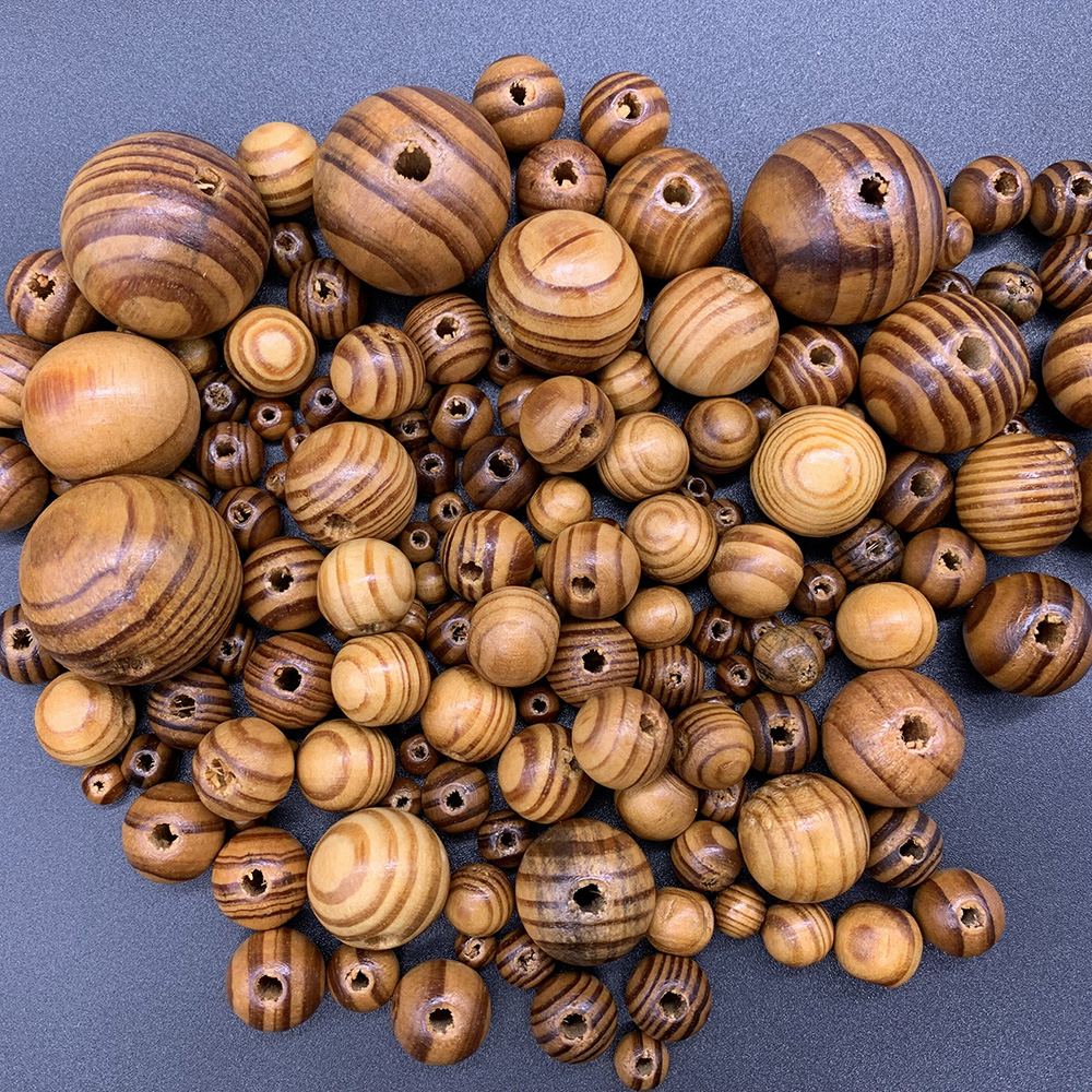 Wood-Spacer Necklace Bracelet Jewelry-Making Loose-Beads Pine Handmade Round Natural