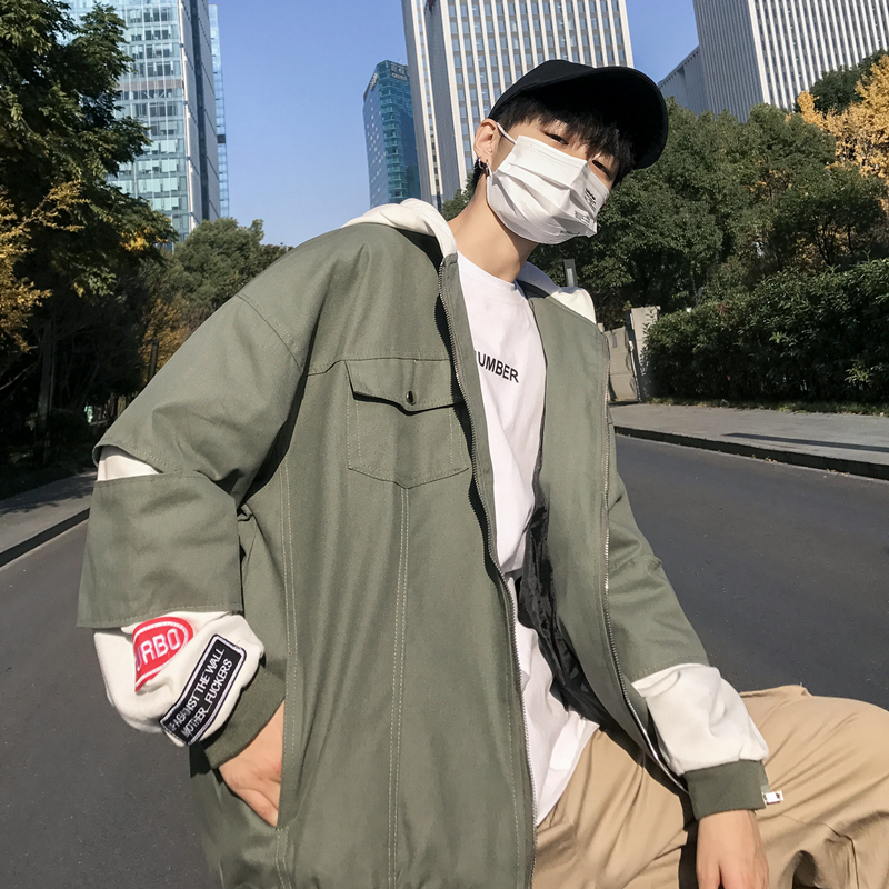 2019 Spring New Korean Campus Wind Fake Two Pieces Of Hole Hooded Big Pocket Casual Men's Jacket Coat Small Fresh