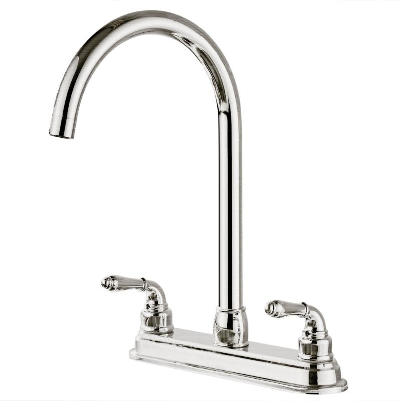 Stainless Steel 2-handle Kitchen Fixed Faucet Dual Hole Home Sink Water TapStainless Steel 2-handle Kitchen Fixed Faucet Dual Hole Home Sink Water Tap