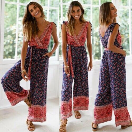 Summer Jumpsuits 2019 NEW Summer Women Sleeveless Deep V Neck Backless Jumpsuit Casual Print Loose Jumpsuit in Jumpsuits from Women 39 s Clothing
