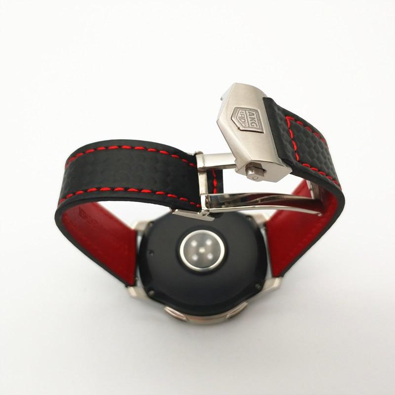 Date Carbone fibre Véritable bracelet de montre En Cuir Bande Pour Samsung Galaxy Montre 46mm 42mm Vitesse S3 Classique Frontière montre huawei 2 - 4