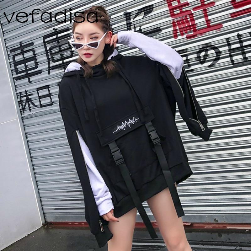 Capuchon Femmes Manches Faux 2018 En Sweat Vefadisa Pièces Double Coton Dq597 Deux Automne À Pull Black Couche CgpdqwX