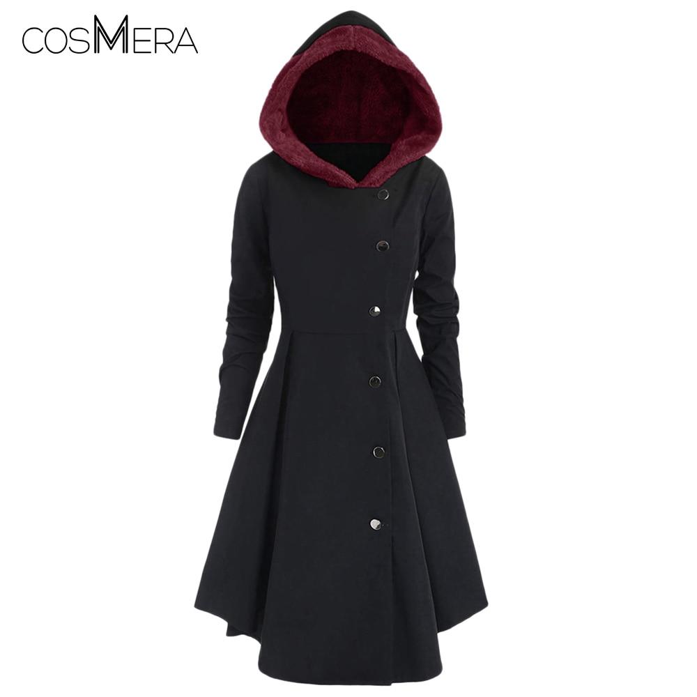 CosMera Plus Size Contrast Asymmetric Fleece Hooded Skirted Coat Single Breasted   Trench   Coat Women Winter Long Coat   Trench   Femme