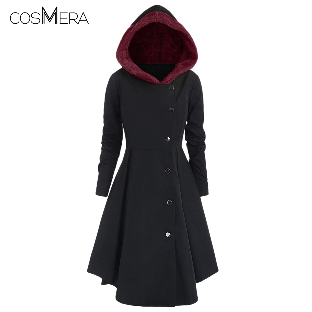 CosMera Plus Size Contrast Asymmetric Fleece Hooded Skirted Coat Single Breasted Trench Coat Women Winter Long Coat Trench Femme