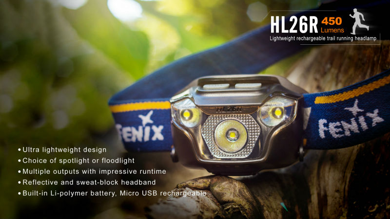 USB Rechargeable Fenix HL26R Cree XP G2 R5 LED 450 Lumens Ultra Lightweight Headlamp for Trail