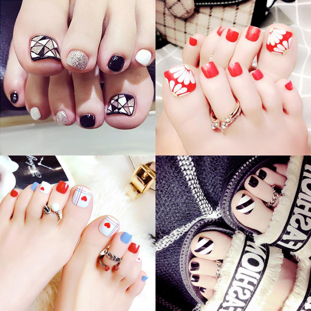 Health Beauty Nail Toe Art: 24Pcs Geometric Glitter Foot False Nail Tips Toenail Toe