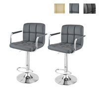 2pcs Swivel Lifting Bar Chairs Rotating Adjustable Height Bar Stool Chair Stainless Steel Stent Armrest Footrest