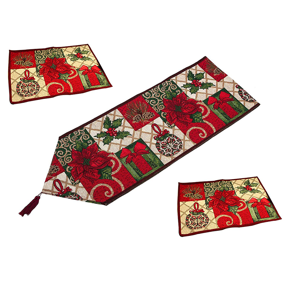 Christmas Decorative Table Runner And Placemats,Christmas Thanksgiving Day Flower Polyester Soft Table Runner Cloth Home Weddi