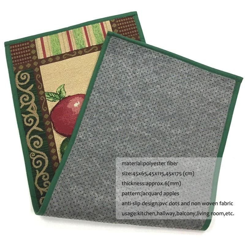 Image 2 - Jacquard Apples Designed Kitchen Floor Mat Cotton Polyester Non Slip Doormat Rugs Front Door Mat Home Decorative Bathroom Carpet-in Mat from Home & Garden