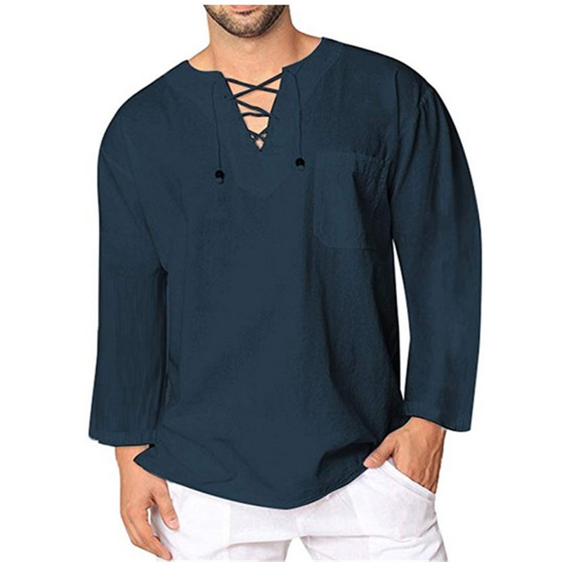 Hirigin High Quality Comfort Men's Cotton Linen T Shirts Casual Loose Lace Up V Neck Long Sleeve Solid Shirts Man Dropship