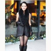 Autumn Winter Women Patchwork Pu Leather Coat Faux Fur Stitching Long Waistcoats Fur Collar Sleeveless Plus Size