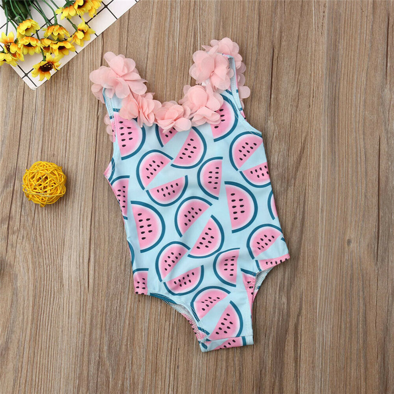 Infant Kids Watermelon Print Bikinis Swimwear Bodysuits Baby Girls Children Bathing Suits Ruffles Beach Wear Swimsuits One Piece