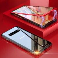Samsung S 10 S10 Artı Manyetik Kılıf S9 Artı 360 Ön + Arka çift taraflı Temperli Cam Durumda galaxy Not 9 için metal tampon