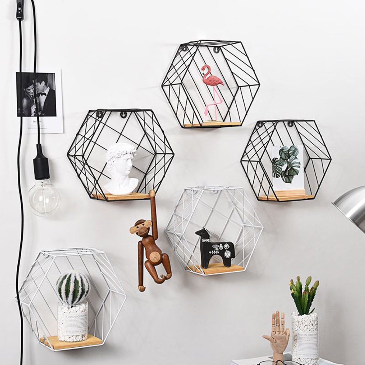 Nordic Modern Iron Hexagonal Grid Wall Shelf Combination Wall Hanging Figure Wall Decoration Storage Rack For Livingroom Bedroom