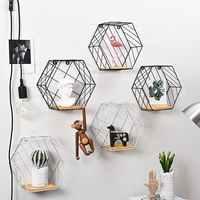 Nordic Modern Iron Hexagonal Grid Wall Shelf Combination Wall Hanging Figure Wall Decoration Storage Rack For Livingroom Bedroom