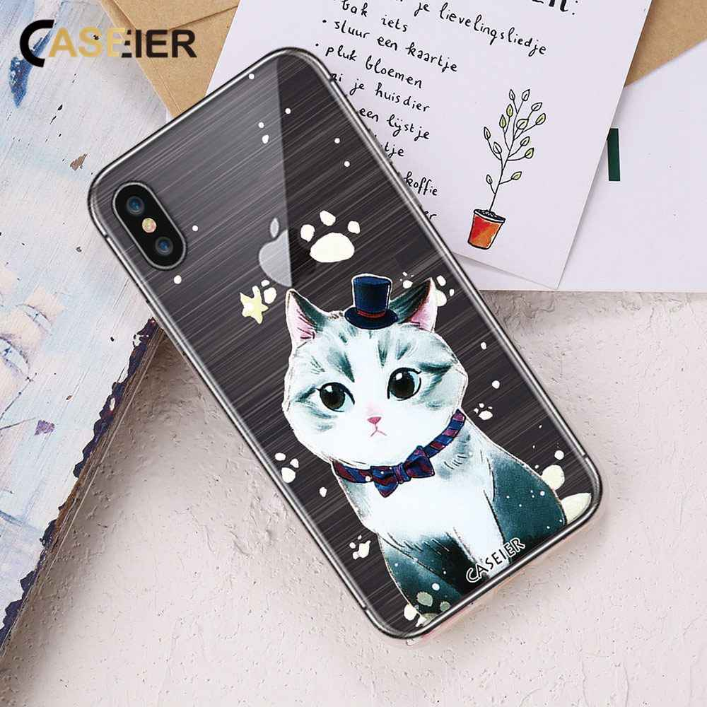CASEIER 3D Alívio Caso Gato Bonito Para o iphone 7 8 X 5S 7 Silicone Suave TPU Caso Bonito Para o iphone 6 8 6 s Mais Gatos Funda Capa Coque
