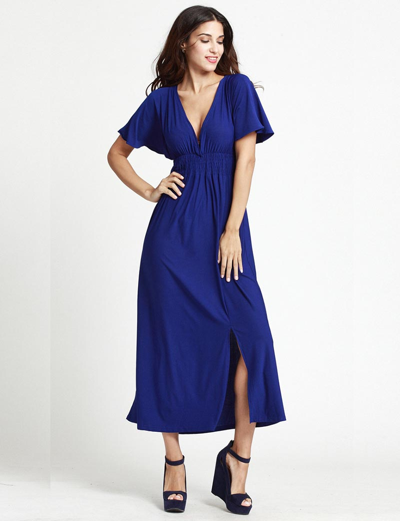 New Women Summer <font><b>Dress</b></font> Plus Size <font><b>5XL</b></font> 6XL <font><b>Sexy</b></font> <font><b>Club</b></font> <font><b>Dress</b></font> Deep V Neck Solid Long Maxi <font><b>Dress</b></font> Blue/Red Elegant Party <font><b>Dresses</b></font> image