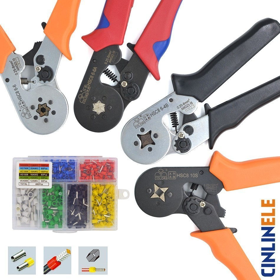 6-4 6-6 0.25-6mm 23-10AWG & 10S 0.25-10mm 23-7AWG  Crimp Pliers Tube Bootlace Terminals Crimping Hand Tools Wire Connector HSC8