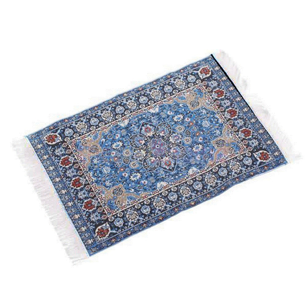 Small Mini Toy Miniature 1/12 Scale Turkish Woven Carpet Blanket Rug Dollhouse Accessories Toy-Starry Night