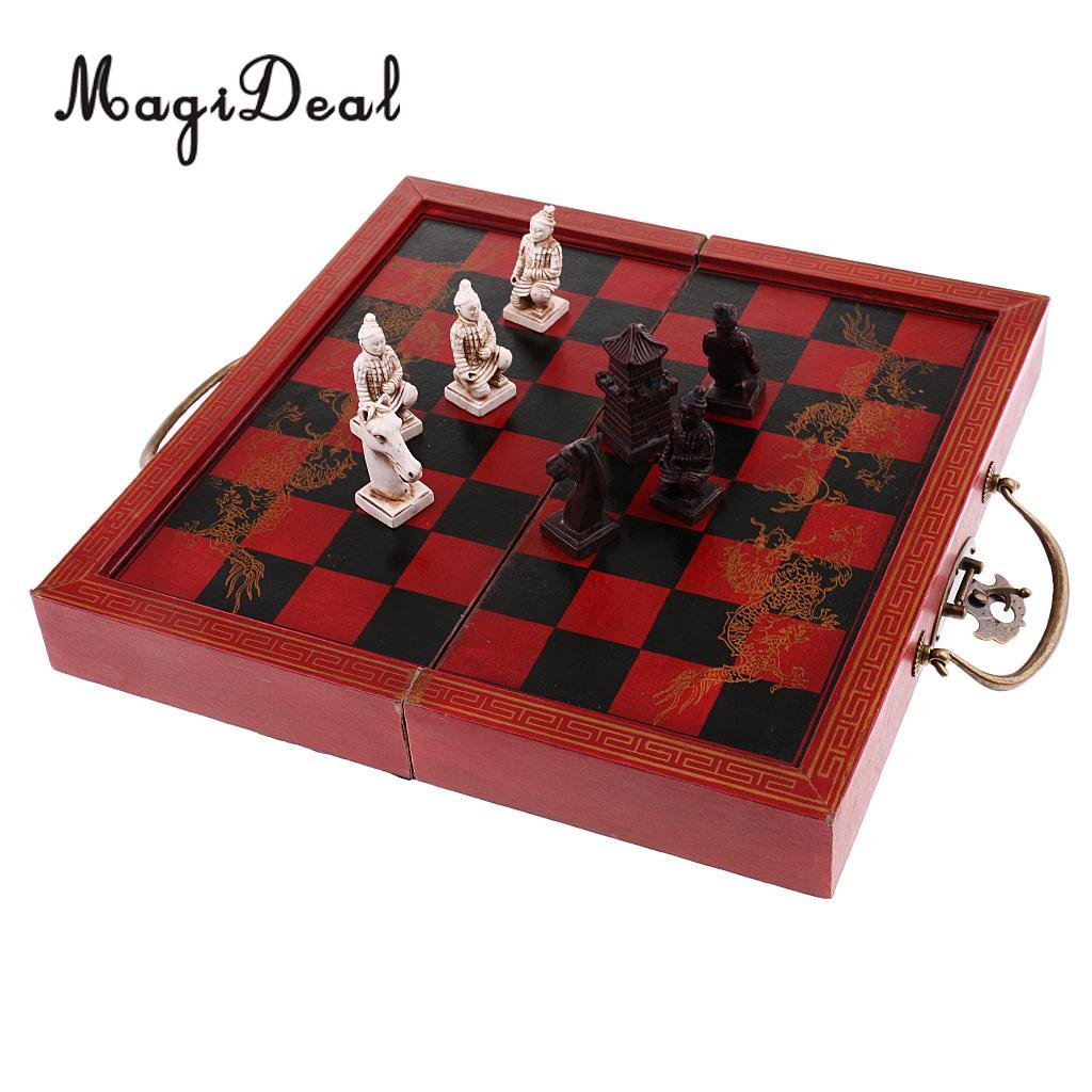 MagiDeal Vintage chinois en terre cuite guerriers échecs en bois Puzzle jeu de société pour famille amis cadeau fête jouet