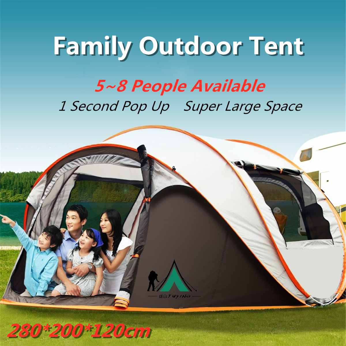 Throw Tent Outdoor Automatic Tents Waterproof Camping Hiking Climbing Waterproof 5-8 People Large Family Tents Large SpaceThrow Tent Outdoor Automatic Tents Waterproof Camping Hiking Climbing Waterproof 5-8 People Large Family Tents Large Space