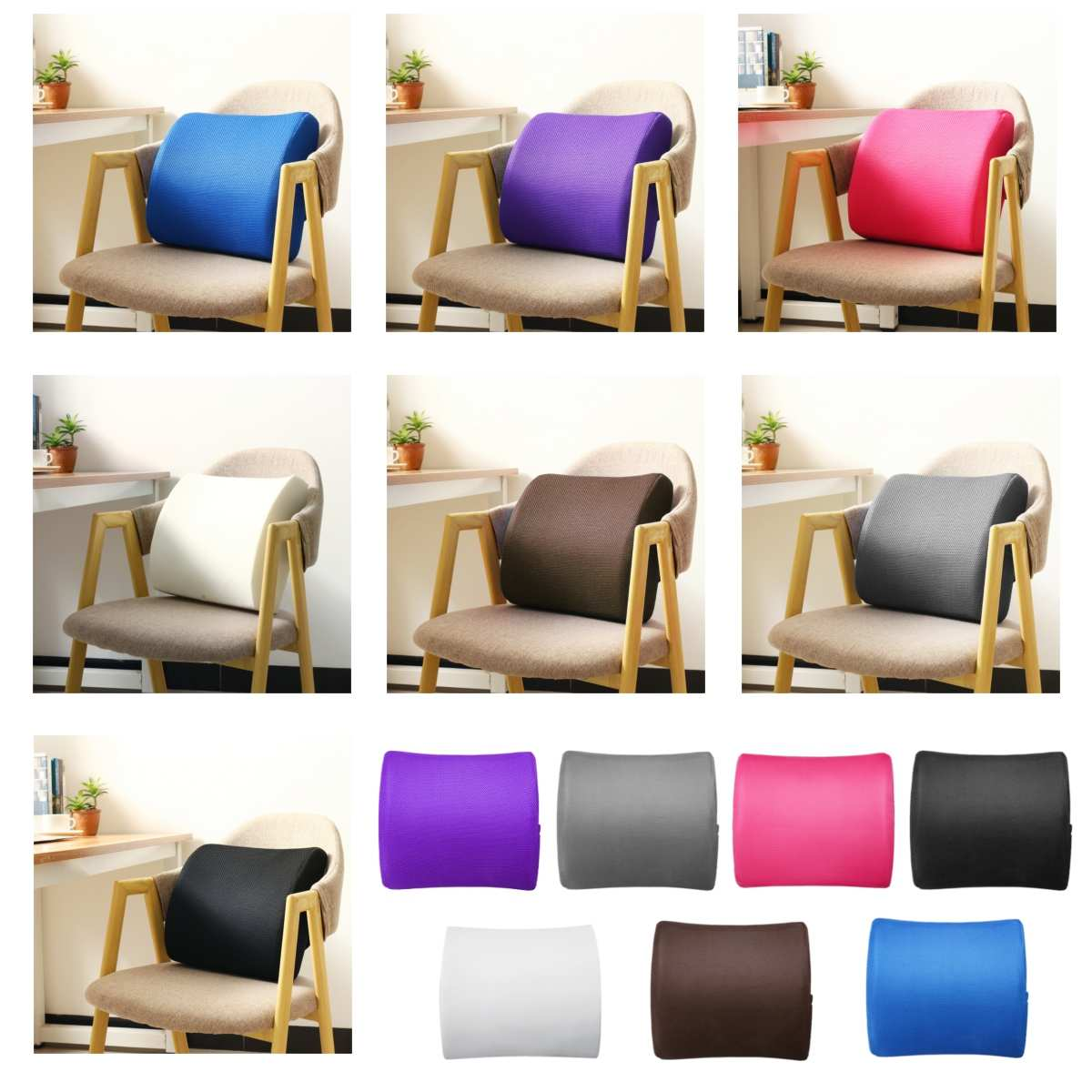 6 Color Lumbar Pillows Made Of Soft Foam For Car Seat To Support And Relieve Back Pain 4