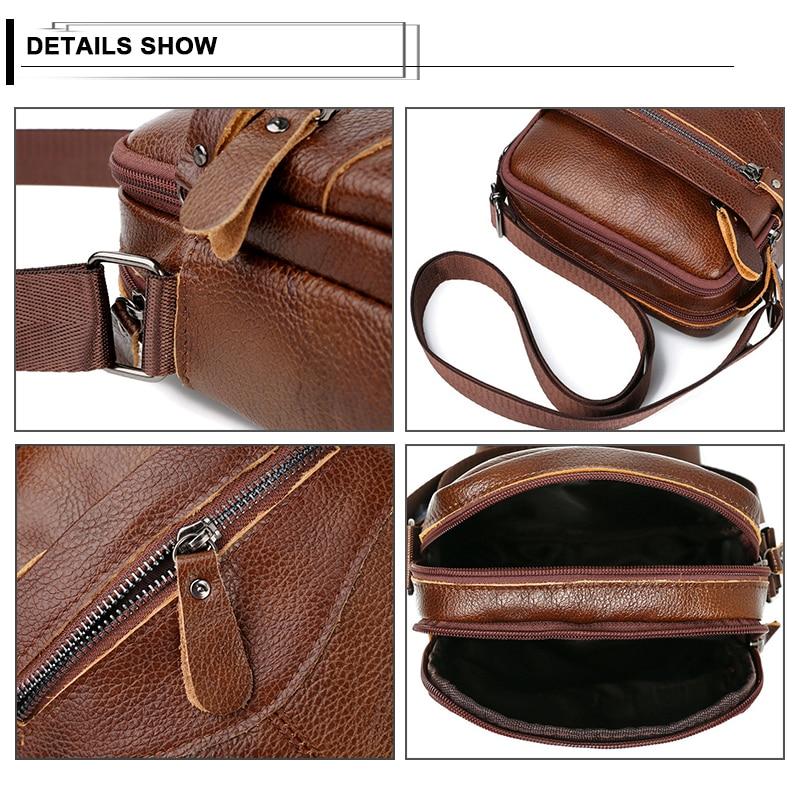 Image 4 - Men Shoulder Bag Genuine Leather Male Cow Leather Messenger Flap Small Shoulder Bags For Mens Solid Black Crossbody BagCrossbody Bags   -