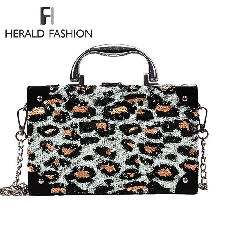 Herald Fashion Women Lether Shoulder Bag Leopard Print Small Female Messenger Bags Casual Flap Bag Chain Ladies' Crossbody Bags