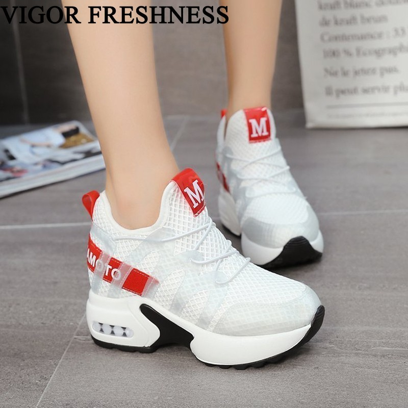 VIGOR FRESHNESS Shoes Women Heels 8.5CM Spring Tennis Shoes Woman Height Increasing White Sneakers Ladies Autumn Shoes WY478VIGOR FRESHNESS Shoes Women Heels 8.5CM Spring Tennis Shoes Woman Height Increasing White Sneakers Ladies Autumn Shoes WY478