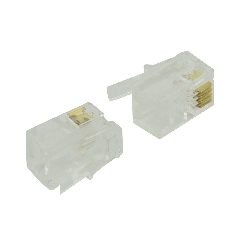RJ9 4P4C Plug Phone Jack Connector 50 Pieces, Transparent-Hot