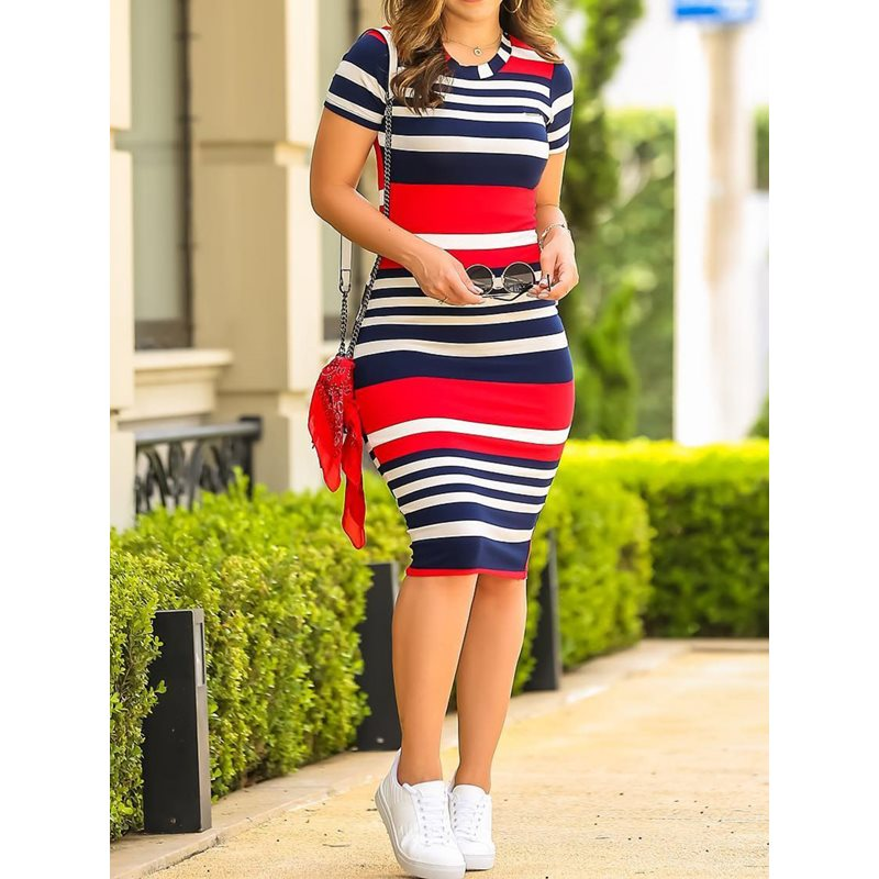 Women Bodycon Dress Sexy Slim Color Stripe Print Fashion Elegant Summer 2019 New Korean Style Street School Girl Casual Dresses