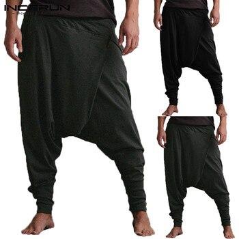 INCERUN Erkekler harem pantolon Bırak Crotch Cepler Joggers Katı Pantolon Erkekler Gevşek Hip-Hop dökümlü pantolon Kadın Rahat Yoga-Pantolon Erkekler 5XL