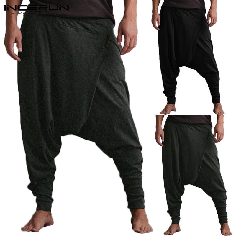 INCERUN Men Harem Pants Drop Crotch Pockets Joggers Solid Trousers Men Loose Hip-hop Baggy Pants Women Casual Yoga-Pants Men 5XL