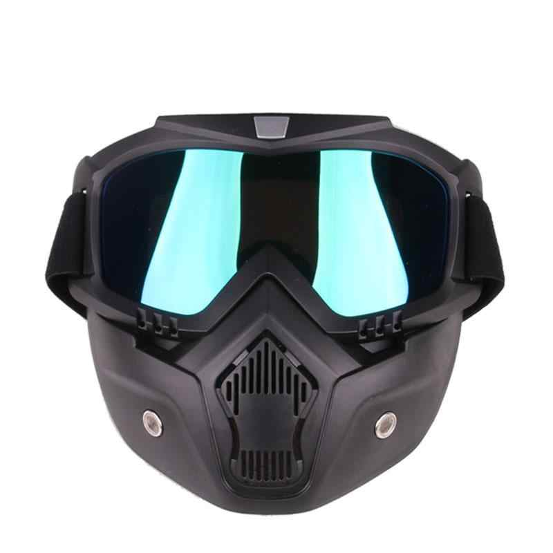 Detachable Motorcycle Tactical Face Goggles Mask Moto Wind Dust Proof Racing Cycling Helmet Protective Goggles Mask Anti-UV r20