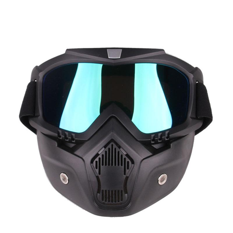 Detachable Motorcycle Tactical Face Goggles Mask Moto Wind Dust Proof Racing Cycling Helmet Protective Goggles Open Face Mask