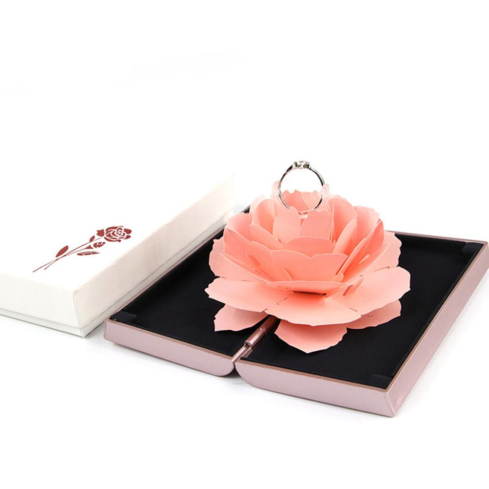 Hot Unique Pop Up Rose Wedding Engagement Rings Box Surprise Jewelry Storage Holder Valentine's Day Gift Boxes For Women