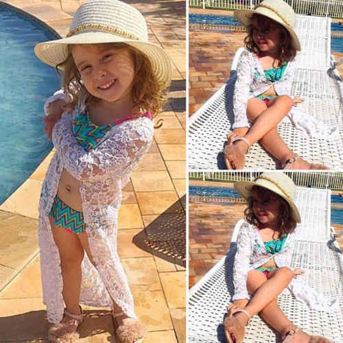 חדש לפעוטות ילדים תינוקת בגדים פרחוני תחרה ארוך שרוול קרם הגנה חוף שמלת Rashguard מעילי הלבשה עליונה נסיכת תלבושת 6M-5Y