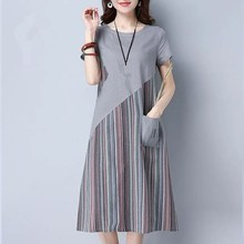 Summer Loose Plus Size Dress Office Lady Casual Striped Patchwork Mid Long Dresses Vintage Short Sleeve A-Line