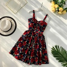 Women Dot Floral Printed Mini Dress New 2019 Summer V Neck Spaghetti Strap A-line Party Dresses Sexy Empire Dress blue random floral printed a line mini dress
