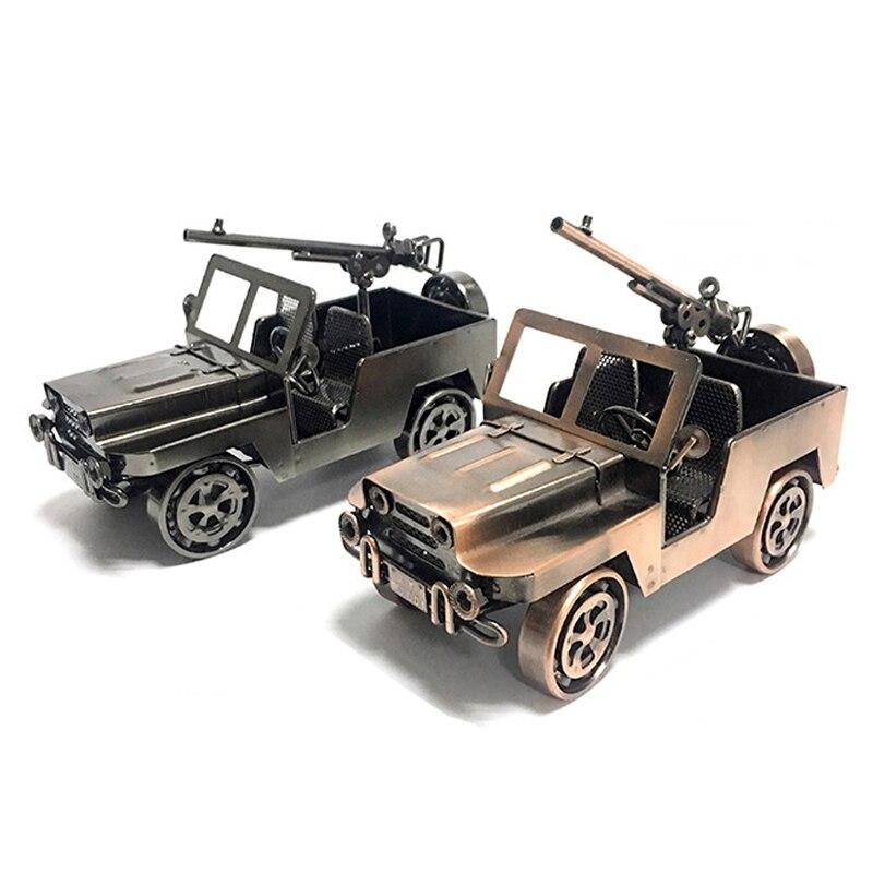 Militaire Jeep modèle rétro voiture Figurine métal décoration à la main fer Bronze ménage décoration enfant jouet classique voitures cadeaux