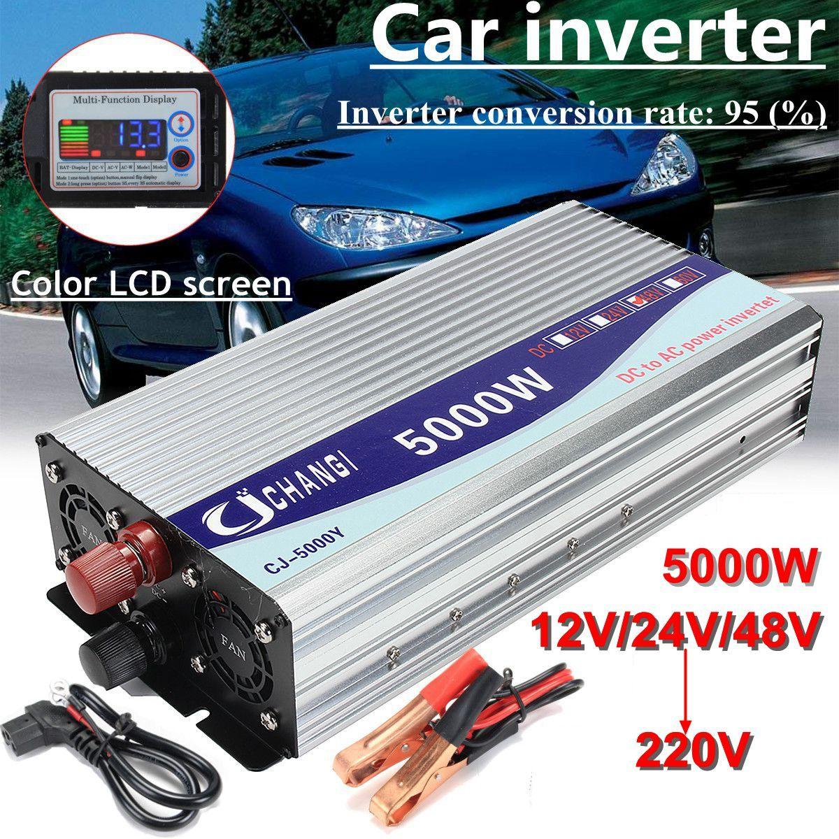 Inverter 12V/24V/48V 220V 5000W 10000W Peak- Modified Sine Wave Power Voltage transformer Inverter Converter + LCD displayInverter 12V/24V/48V 220V 5000W 10000W Peak- Modified Sine Wave Power Voltage transformer Inverter Converter + LCD display
