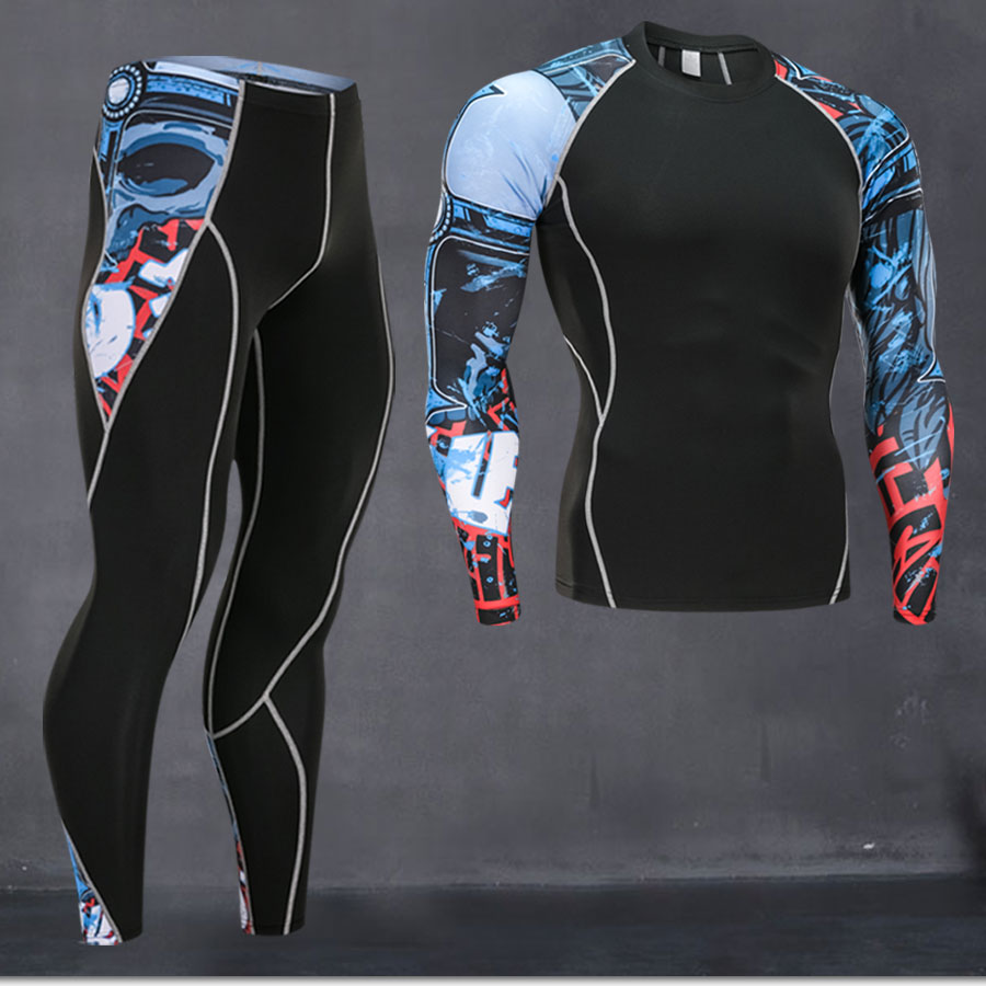 Rashgard male 2019 winter 3D Teen Wolf Set Men Compression Clothing Crossfit Thermal Underwear Men's Fitness Set MMA Clothing