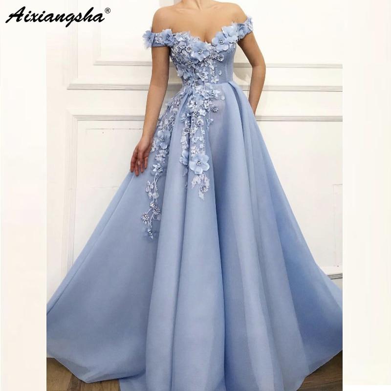 Charming Blue Evening Dresses 2019 A Line Off The Shoulder Flowers Appliques Dubai Saudi Arabic Long Evening Gown Prom Dress