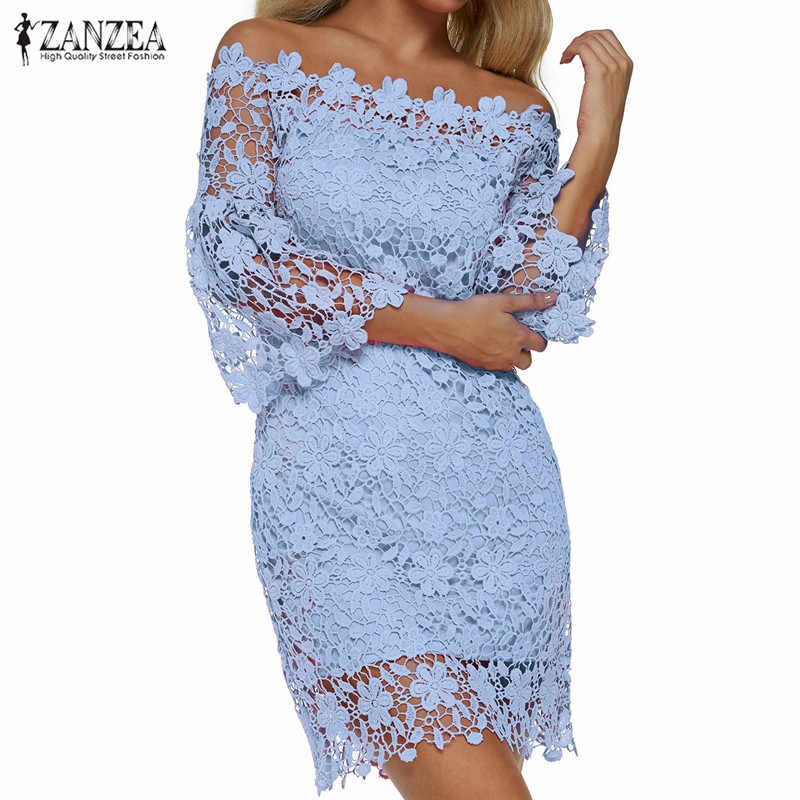 ZANZEA 2019 Vrouwen Mini Jurk Zomer Sexy Patchwork Kant Solid Off Shoulder Slash Neck Flare Mouwen Party Jurken Elegant Vestido