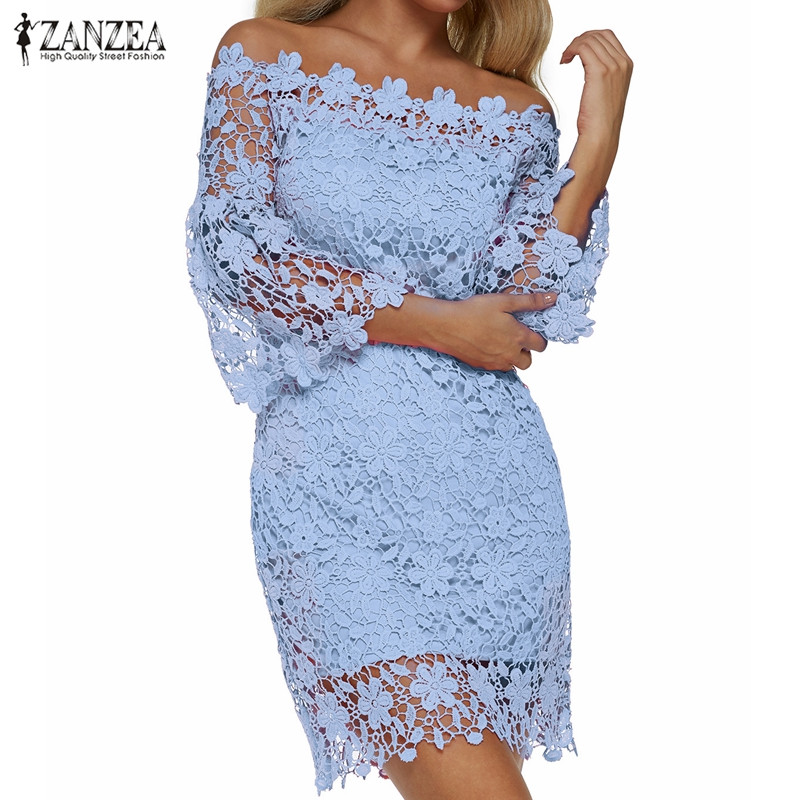 ZANZEA 2019 Women Mini Dress Summer Sexy Patchwork Lace Solid Off Shoulder Slash Neck Flare Sleeve Party Dresses Elegant Vestido